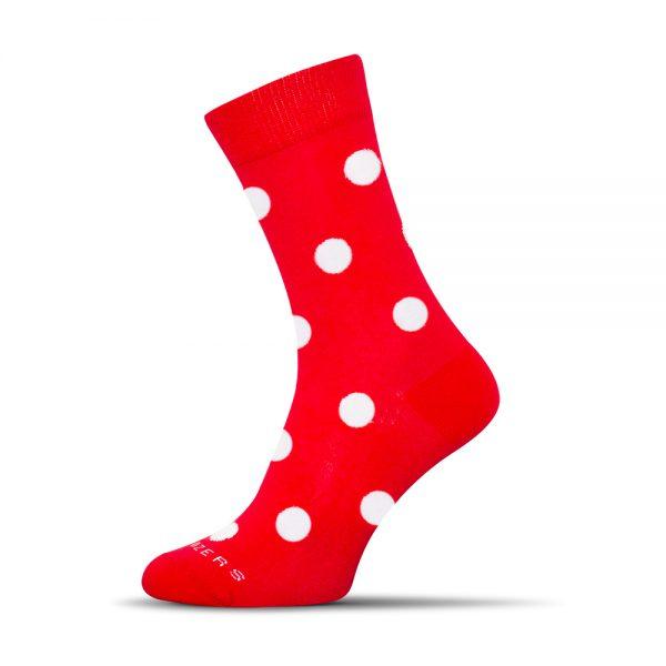 červené - biele bodky ponožky shox
